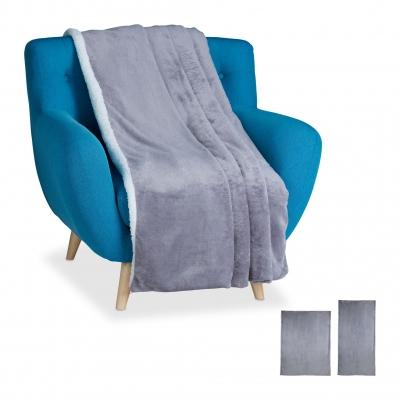 Plaid - groot - woondeken - grijs - deken - bankkleed - fleece deken - nep bont Grijs, 150x200cm Gratis verzending