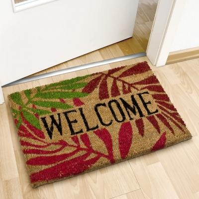 """Deurmat """"Welkom""""  40x60 kokosvezel met kleurrijke Bladeren"""
