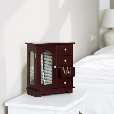 Sierraden kastje met 4 Lades gemaakt van hout met spiegel en sieradenhouder, Rood-Bruin