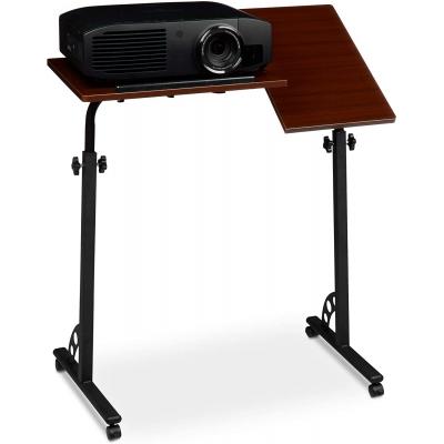 Laptoptafel XL - verstelbaar - 110 cm - op wieltjes - laptopstandaard - hout zwart Gratis verzending