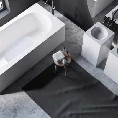 Badkuipmat steen-look, antislip badmat met zuignappen, wasbare antislipmat, 36 x 68 cm, wit
