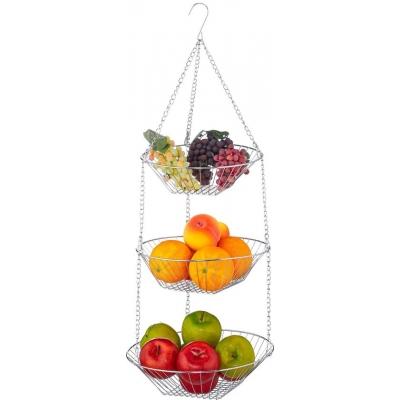 hangende fruitmand - fruitschaal - etagere fruit - hangmand - draad - 3 etages