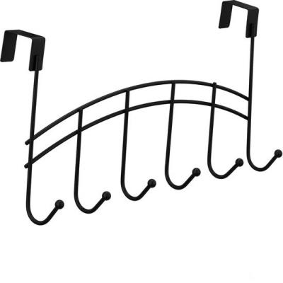 Deurkapstok 6 haken - deurhaken - metaal - ophanghaken deur - kapstok deurhanger zwart