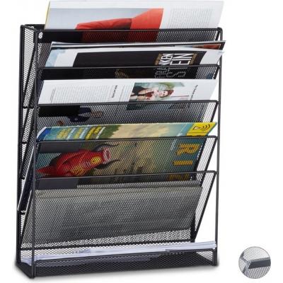 tijdschriftenrek muur - lectuurrek wand A4 - tijdschriftenhouder - 6 vakken zwart Gratis verzending