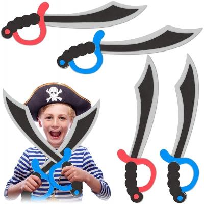 Piratensabel 4-delige set, schuimstof, carnaval, Halloween, voor kinderen, piratenzwaart, 41 cm lang, kleurrijk,meerkleurig