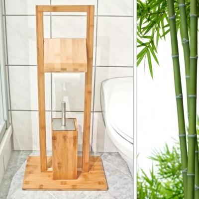 Bamboe WC-Set - Vrijstaande Bamboe Toiletaccessoire Set - Duurzaam - (B x H x D) ca. 30 x 82 x 21 cm Gratis verzending