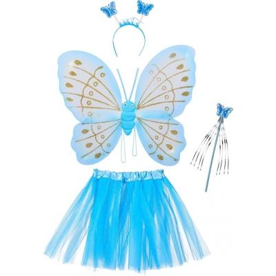 Fee kostuum kinderen - vlindervleugels - kinderkostuum - toverstaf - diadeem -alleen nog wit