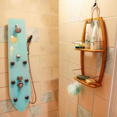 Doucherek bamboe met 2 etages - houten flaconhouder - hangrek voor de badkamer Gratis verzending