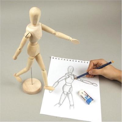 Houten anatomie tekenpop/ledepop man 30 cm - Modelpop mensen tekenen/schilderen - Ledepop kunstenaars