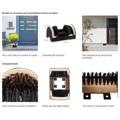 Borstelschoenen voor Buiten, Hout-Metaal, Zwart-Bruin, 11,5 x 23 x 15 cm Gratis verzending