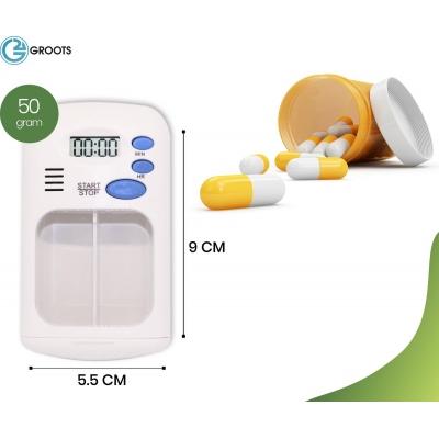 Pillendoos met timer - medicatie doos - pillendoosje - ochtend, middag, avond, bedtijd - pillendoos alarm - Gratis verzending