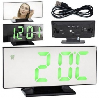 Multifunctionele Digitale – Spiegel klok met Wekker en Zwarte Thermometer – 4 in 1 Gratis verzending