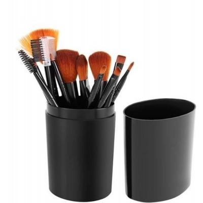 Set van 12 Professional Makeup Kwasten - Kwastenset met Opbergkoker - Zwart