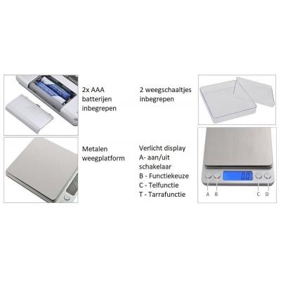 Juweliers weegschaal - precisie weegschaal - Max 2Kg - tot 0,1 gram nauwkeurig