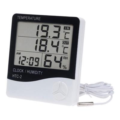 Digitale Thermometer + Hygrometer Binnen en Buiten met Geheugen + Klok met Wekker, Alarm, Temperatuur, Datum, Display – Op Batterij, voor Slaapkamer, Badkamer