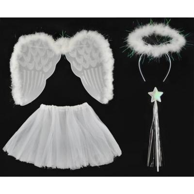 Angel kostuum bestaat uit 4 elementen - halo, vleugels, sketch en staaf met een ster.