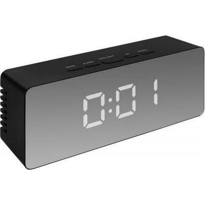 Wekker. Klok met alarm. Thermometer. Spiegel zwart of zwart