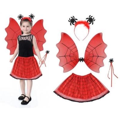 Costume Set Witch Kids 2 Kleuren Rood / Zwart Outfit Halloween Rock Wand Wings